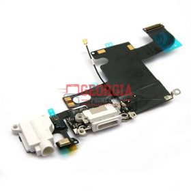 iPhone 6 White Charging Port with Flex Cable, Earphone Jack and Mic (High Quality - Substitute Part)