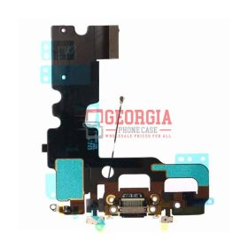 iPhone 7 Black Charging Dock Port Flex Cable with Microphones Antenna (High Quality - Substitute Part)