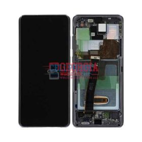 OLED Screen Display with Digitizer Touch Panel and Bezel Frame for Samsung Galaxy S20 Ultra G988 - Cosmic Black