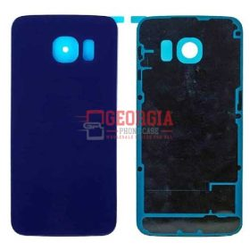 New BLUE Battery Cover Glass Housing Back Door for Samsung Galaxy S6 Edge US (High Quality - Substitute Part)