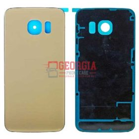 New GOLD Battery Cover Glass Housing Back Door for Samsung Galaxy S6 Edge US (High Quality - Substitute Part)
