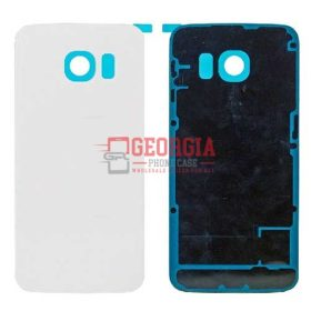 New WHITE Battery Cover Glass Housing Back Door for Samsung Galaxy S6 Edge US (High Quality - Substitute Part)