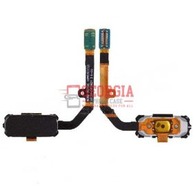 Home Button with Flex Cable, Connector and Fingerprint Scanner Sensor for Samsung Galaxy S7 Active G891 - Black (High Quality - Substitute Part)