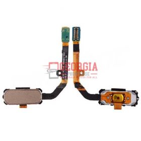 Home Button with Flex Cable, Connector and Fingerprint Scanner Sensor for Samsung Galaxy S7 Active G891 - Gold (High Quality - Substitute Part)