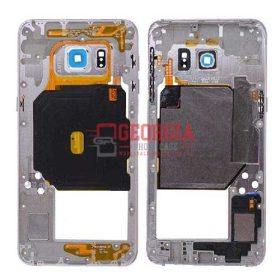 Middle Housing with Camera Lens and Camera Bezel Cover, Side Buttons, Loudspeker Ringer Buzzer for Samsung Galaxy S6 Edge Plus G928/ G928F/ G928A/ G928V/ G928P/ G928T/ G928R4/ G928W8 - White (High Quality - Substitute Part)