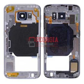 Rear Housing with Camera & Flash Light Lens, Ringer, Power & Volume Buttons and Wireless Charging Flex for Samsung Galaxy S6 G920/ G920F/ G920I/ G920X/ G920A/ G920V/ G920P/ G920T/ G920R4/ G920W8 - Gray (High Quality - Substitute Part)