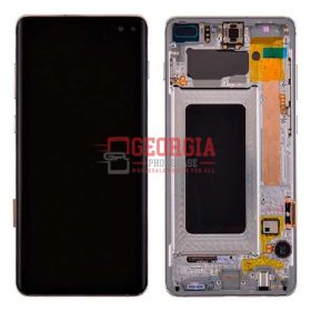LCD Screen Display with Digitizer Touch Panel and Bezel Frame for Samsung Galaxy S10 G973 (Silver Frame) - Black