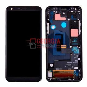LCD Screen Display with Touch Digitizer Panel and Frame for LG Q7+ Q610 (Black Frame) – Black (High Quality - Substitute Part)
