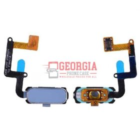 Home Button with Flex Cable,Connector and Fingerprint Scanner Sensor for Samsung Galaxy A7 2017 A720/ A5 2017 A520 - Blue
