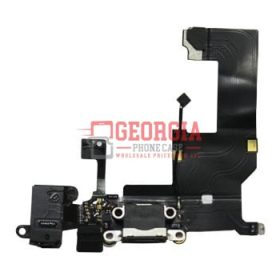Charging Port with Flex Cable, Earphone Jack and Mic for Iphone 5 - Black (High Quality - Substitute Part)