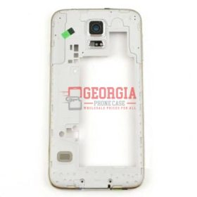 Gold Rear Housing with White Ear Speaker Mesh Cover for Samsung Galaxy S5 G900(High Quality - Substitute Part)