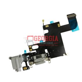 iPhone 6 Gray Charging Port with Flex Cable, Earphone Jack and Mic (High Quality - Substitute Part)