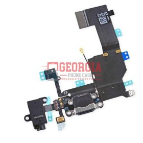 Black Charging Port with Flex Cable, Earphone Jack and Mic for iPhone 5C (Substitute Part)