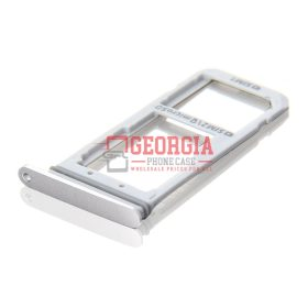 Samsung Galaxy S7 Edge G935 Sim Card Holder Slot Micro SD Card Tray White New Substitute (High Quality - Substitute Part)